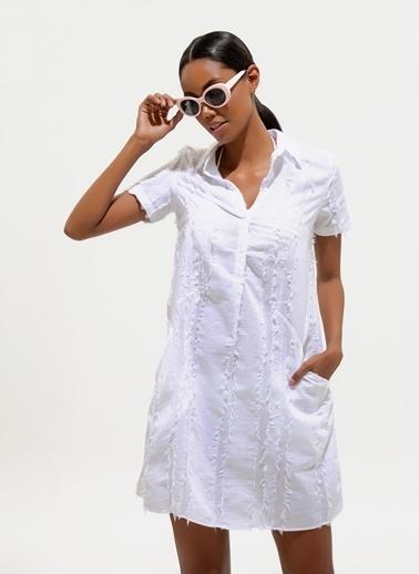 Loves You Cepli İp Saçaklı Keten Karışımlı Tunik Elbise Beyaz